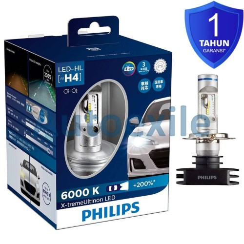 Foto Produk Philips Xtreme Ultinon LED H4 6000K 200% Lampu Headlamp Mobil Putih dari Autoexile