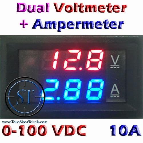 """Foto Produk Dual Voltmeter + Ampermeter + Frame @ 0.28"""" 0-100DCV + 10A dari SinarTeknik"""