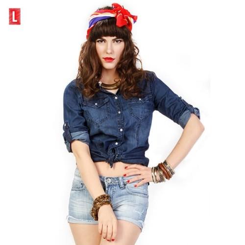 Foto Produk KEMEJA LENGAN PANJANG INDIRA CHAMBRAY SHIRT ( 24387L2DL ) LOGO JEANS - Navy, S dari Logo Jeans
