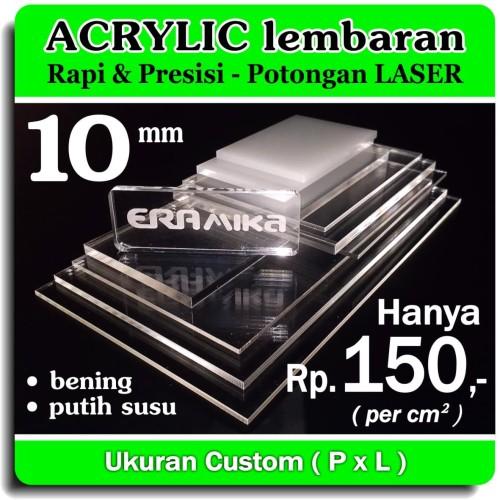 Foto Produk Acrylic/Akrilik Lembaran Potongon Laser - Custom Persegi - 10 mm - Putih Susu dari Era Mika