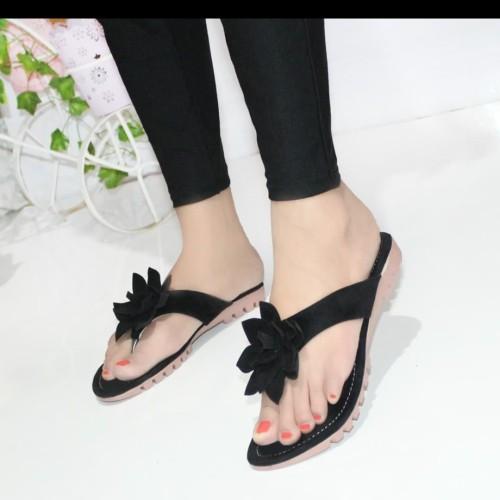 Foto Produk Sandal Wanita Jepit Bunga SDL98 Hitam - 37 dari CAFANA STORE
