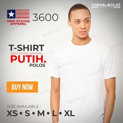 Foto Produk Kaos Polos NEW STATES APPAREL (NSA) 3600 ORIGINAL WHITE S M L XL dari Grosir clo