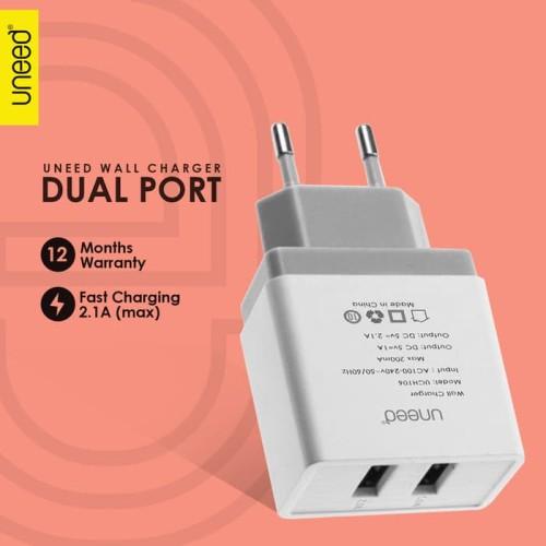 Foto Produk UNEED Wall Charger Adaptor Dual USB Port Fast Charging 2.1A - UCH106 dari KortingStore