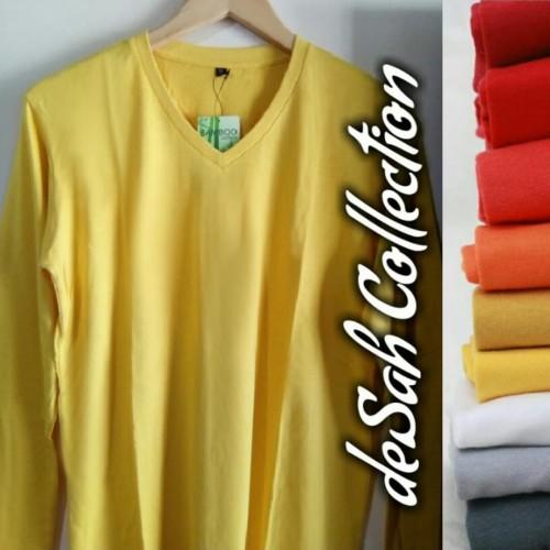 Foto Produk Kaos Katun Bambu V-neck Lengan Panjang size XS-XL dari deSah Collection