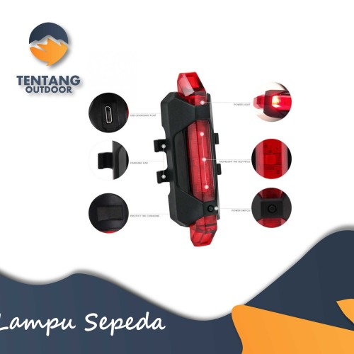 Foto Produk Deemount RapidX Lampu Sepeda LED USB Nyala Terang Waterproof - Putih dari TentangOutdoor