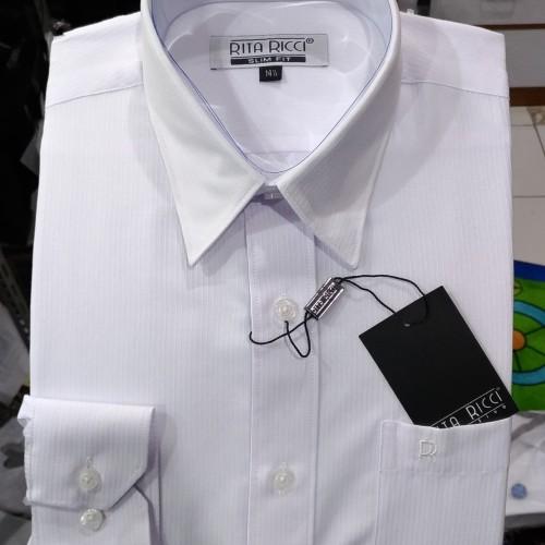 Foto Produk Kemeja Pria RITA RICCI Panjang Slimfit Putih Dobby Salur Harringbond - Putih, S dari Mega Hero Shirts