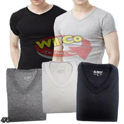 Foto Produk K478  Kaos Oblong V-NECK   Kaos Dalam   T Shirt   Kaos Polos Premium - Hitam, M dari Willy Collections