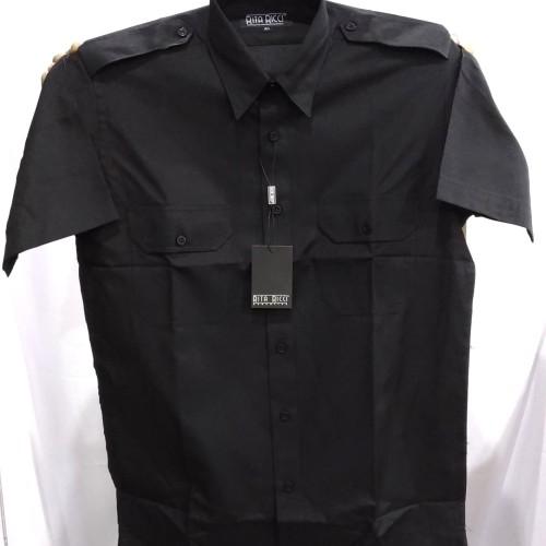 Foto Produk Kemeja Pria Pilot Rita Ricci Hitam Pendek Kantong Dua Pangkat Oxford - Hitam, S dari Mega Hero Shirts