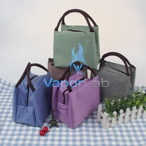 Foto Produk 003 insulated lunch bag cooler bag tas bekal kotak makan rantang garis - A. COKLAT TUA dari VAPOR LAB