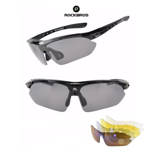 Foto Produk ROCKBROS Polarized Sports Sunglasses 5 lens - kacamata Sepeda BLACK dari Rockbros Indonesia