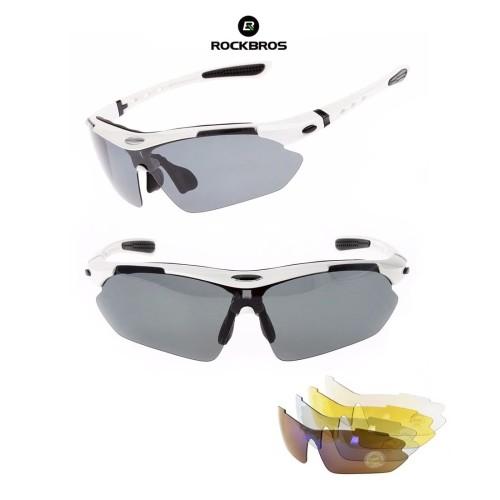 Foto Produk ROCKBROS Polarized Sports Sunglasses 5 lens - kacamata Sepeda WHITE dari Rockbros Indonesia