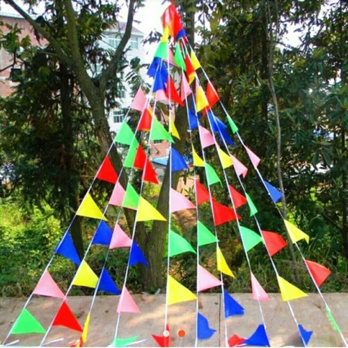 Foto Produk Bendera Segitiga Festival Warna Warni / Bunting Flag Warna Warni dari Balonku Shop