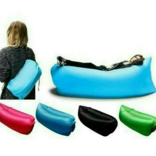 Foto Produk LAZY BAG LAMZAQ - AIR SOFA BED - sofa angin - sofa air - renang - Hitam dari ViralShop87