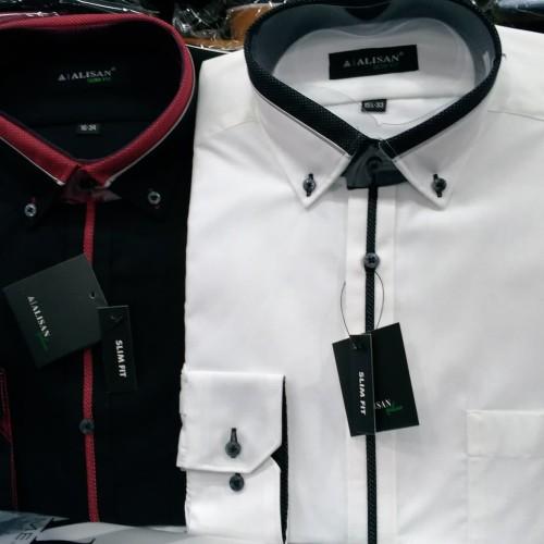 Foto Produk Kemeja Alisan Polos Kombinasi Lengan Panjang Slim fit. Size 14.5 - 16 dari Resti muthia