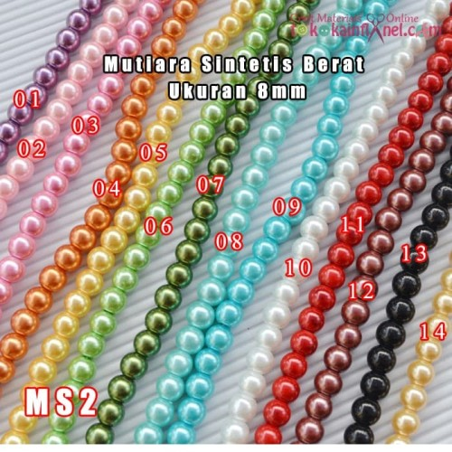 Foto Produk MS2 Mutiara Sintetis Bulat ukuran 8 (1 string 20cm isi +/- 26 butir) dari Toko Kain Flanel dot com