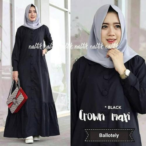 Foto Produk Baju Gamis Polos Balotelli Terbaru Crown Dress Maxi Termurah dari hijabafwa