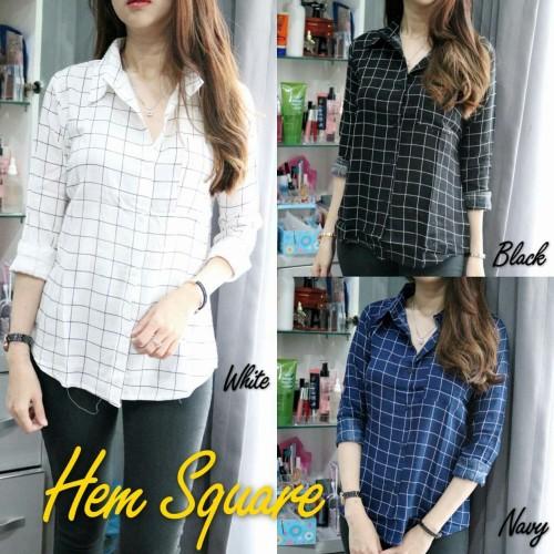 Foto Produk Hem Square [Baju Atasan Wanita 0133] RIL - Hitam dari Super Model