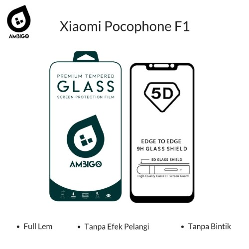 Foto Produk Tempered Glass 5D Xiaomi Pocophone F1 Full Cover Ambigo Original - Hitam dari Jagonya Case