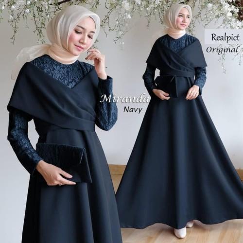 Foto Produk Long Dress baju pesta muslim gamis hijab brukat miranda ORIGINAL dari Shova Boutique