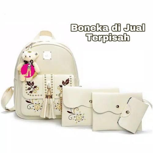 Foto Produk Tas Ransel Mini Tas Gendong Cewek Sayour 4in1 Sling Bag Grosir Murah - Hitam dari Leonie's fash