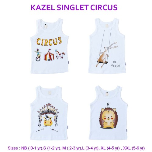 Foto Produk Kazel Singlet Unisex Circus Edition - S 1-2Thn dari Kazel Babywear