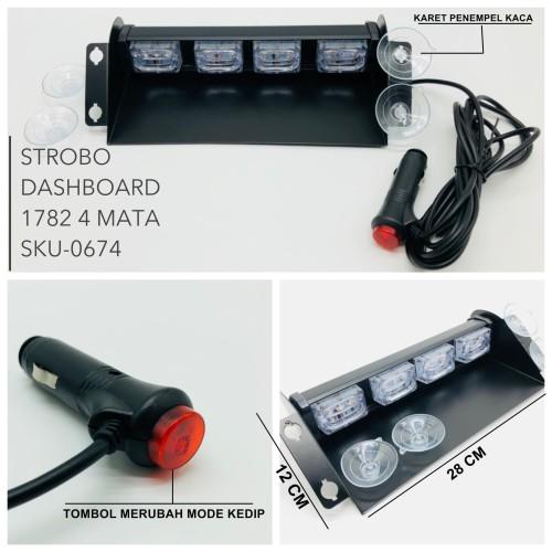 Foto Produk LAMPU STROBO DASHBOARD 4 MATA LED 1782 COLOK LIGHTER I Strobo Konvoi dari BULLAES
