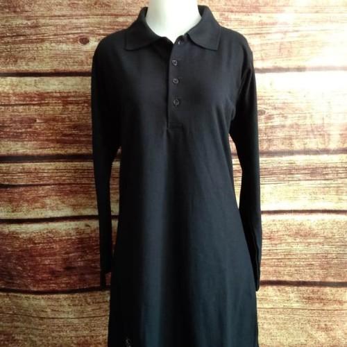 Foto Produk Kaos Krah Tunik Polo Lacoste Muslimah Busui Panjang HITAM uk. S - XL dari FATIA-BAROKAH354