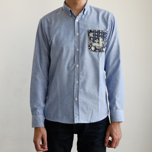 Foto Produk BUTTON DOWN Kosei oxford shirt with bandana patchwork - Biru Muda, XL dari BUTTON DOWN