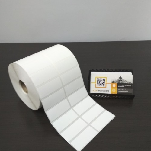 Foto Produk LABEL PRINTER BARCODE 50X20MM - 50X20 MM - 2 LINE SEMICOATED ISI 5000 dari Barcode Official Store