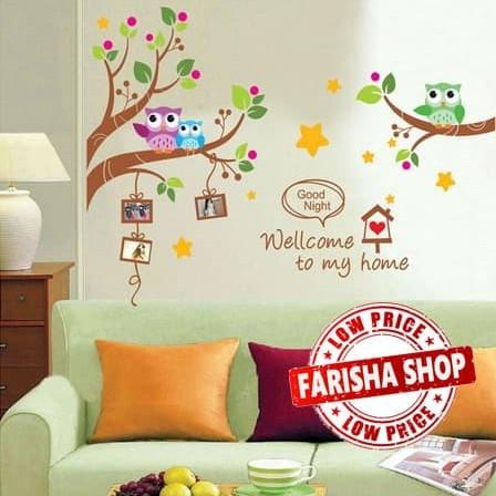 Foto Produk Owl Frame XY1159 - Stiker Dinding / Wall Sticker dari farisha shop