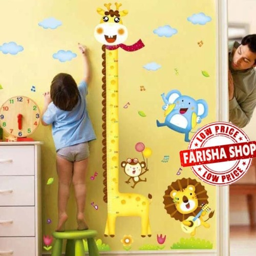 Foto Produk Grow Up Giraffe & Lion  XY1105 - Stiker Dinding / Wall Sticker dari farisha shop