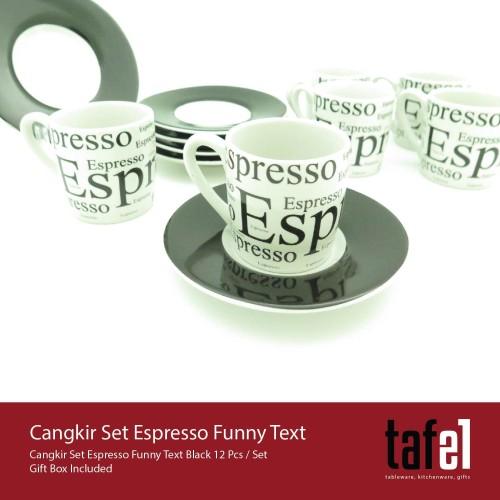 Foto Produk Tafel21 Cangkir Kopi Set Espresso Funny Text 12 Pcs / Set dari TAFEL21