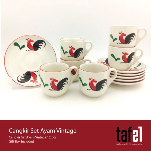 Foto Produk Tafel21 Cangkir Kopi Ayam Vintage 12 Pcs /Set dari TAFEL21