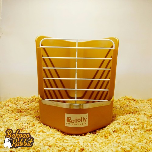 Foto Produk TEMPAT MAKAN KELINCI JOLLY JP140 2 IN 1 HAY RACK & FEEDING BOWL BROWN dari Bakpao Rabbit