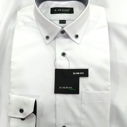 Foto Produk Alisan Kemeja Pria Putih Panjang Slimfit Dobby Serat White Regent - Putih, S dari Mega Hero Shirts