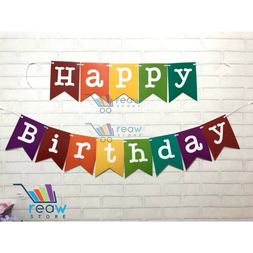 Foto Produk Banner Flag / Bunting Flag Happy Birthday Pelangi / Rainbow dari Reaw Store
