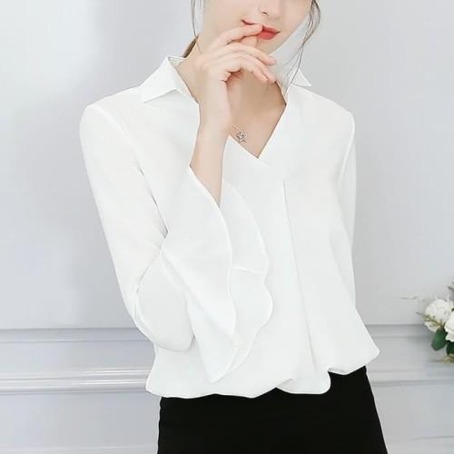 Foto Produk Kemeja wanita - kemeja style korea tangan terompet dari My1stShop