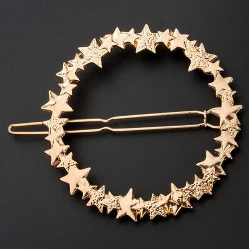 Foto Produk jepit rambut bintang bulat circle star hair clip jje036 - gold dari Oila