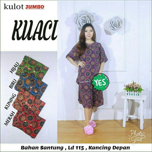 Foto Produk Setelan kulot jumbo batik pekalongan / baju tidur wanita / babydoll dari RisqianaBatik
