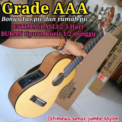 Foto Produk Gitar mini,gitar travel,gitar lele elektrik equalizer - Cokelat Muda dari dapid bakoel gitar