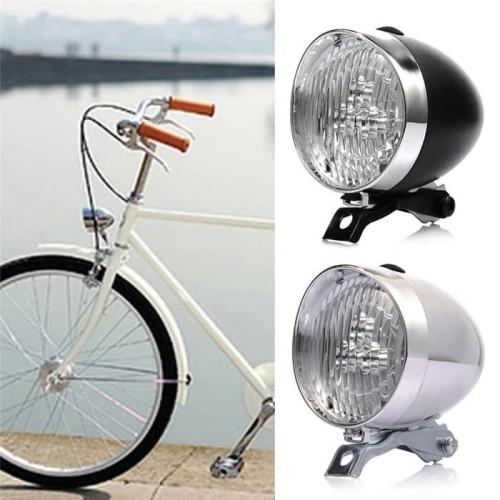 Foto Produk Lampu Depan Sepeda LED Model Klasik / Ontel / Vintage - Chrome dari Uppala Shop