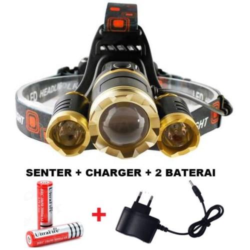 Foto Produk PROMO PAKET Senter kepala LED / Headlamp LED Cree XML T6 10000 Lumens dari Rumah Susun