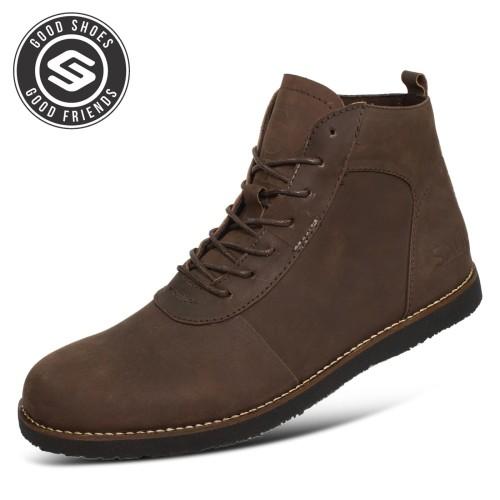 Foto Produk Sauqi Brodo NVM Sepatu Pria Boots Kulit Asli (CH) Kualitas Terbaik - Cokelat, 39 dari Juragan Sepatu Bagus