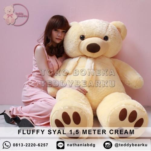 Foto Produk Boneka Teddy Bear FLUFFY SYAL SUPER SUPER JUMBO 1,5 METER WARNA CREAM dari TeddyBearKu