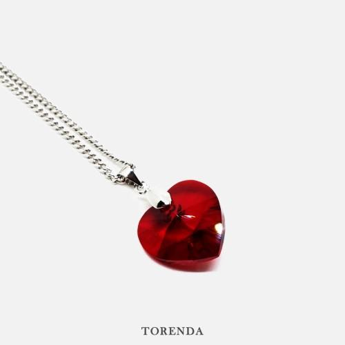 Foto Produk Torenda Kalung Liontin Love Pendant with Swarovski - Merah (Siam) dari TORENDA