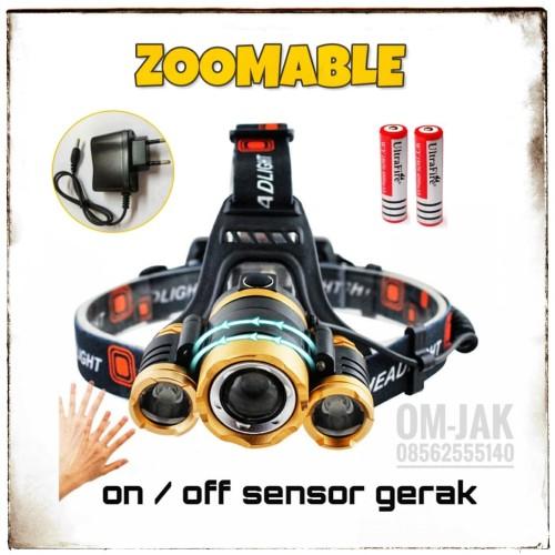Foto Produk Paket Senter Kepala sensor Gerak Golden / Headlamp Cree XM-L 3T6 15rbL dari om-jak