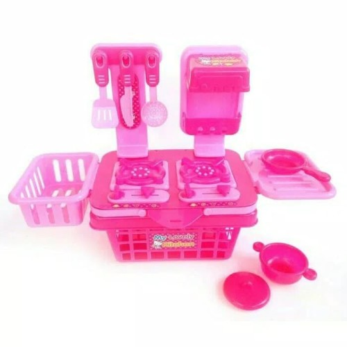Foto Produk masak masakan mainan keranjang set pink mainan anak cewek dari Howell toys