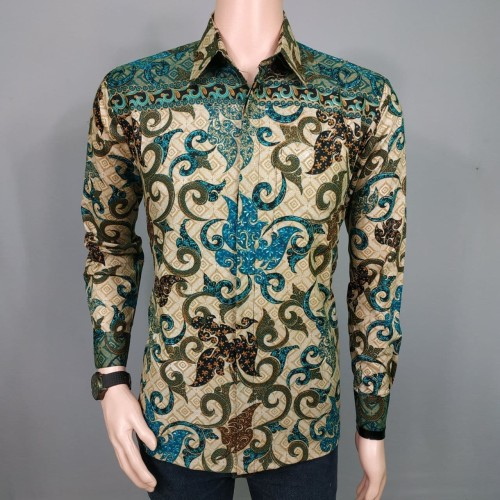 Foto Produk Kemeja Batik Aryasandi - Seragam Batik Pria Lengan Panjang Kantor - Ivory, XXL dari Pitoo Batik