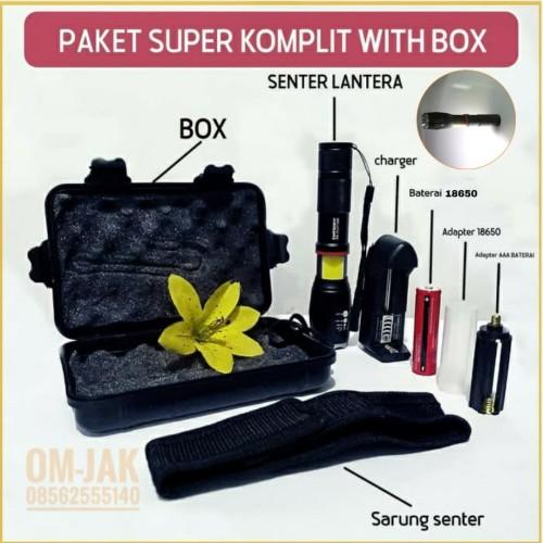 Foto Produk Paket combo Senter E17 lantera COB LED Torch Cree XM-L T6 8000 Lumens - PAKET BOX dari om-jak