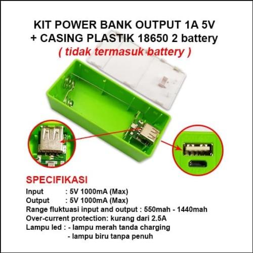 Foto Produk Kit Power Bank 1A 5V 2 Slot Batre/Baterai 18650 + Casing Plastik dari Toko Mitra Abadi